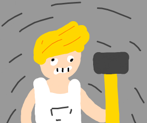 A deranged blonde with hammer