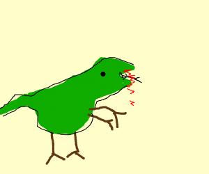 t-rex eating a man