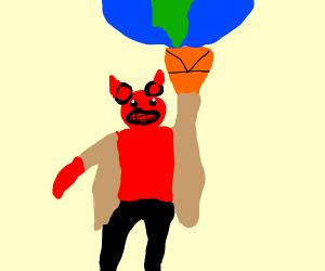 Hellboy lifting a planet