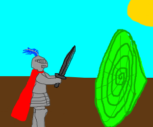 knights fight a green hole