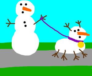 Snowman walks his snowdog