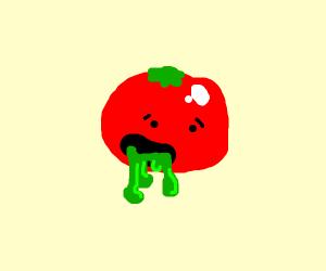 tomato oozing green juice
