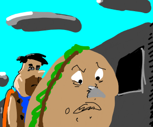 Fred Flintstone attacks a hamburger