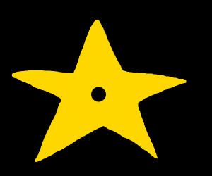 yellow star w/ a black dot in the middle
