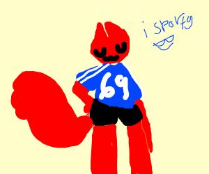 red cat in sports gear