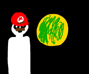 Mario Looks At Green And Yellow Planet