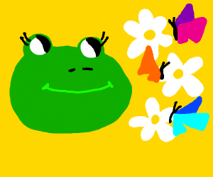 frog and butterflies