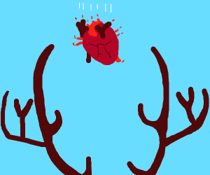 Heart falling into antlers.