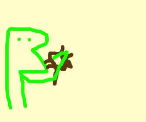 Kermit eating a bug