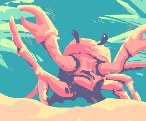 crab dancing on a beach