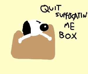Snoopy stuck in a box that is suffocating him
