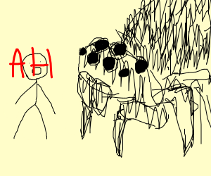 stickman sees a huge spider