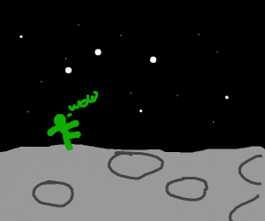green guy on the moon