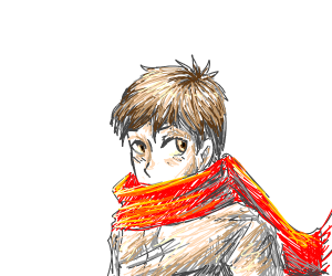 Manga boy with red scarf