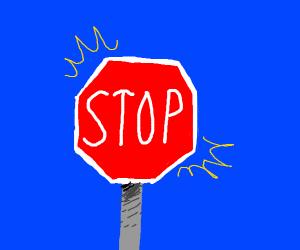A lit up stop sign
