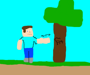 Minecraft Steve chopping down a tree