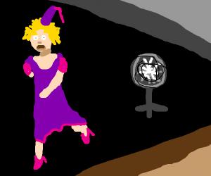 princess running away from a fan