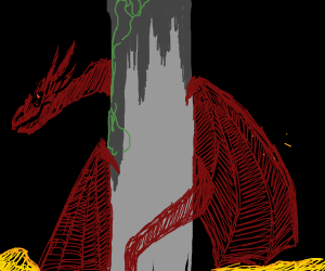 Dragon wrapped around a column