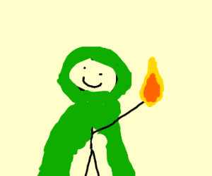 Smiling cloaked man holds fire