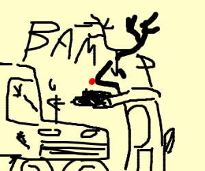 reindeer shooting a truck