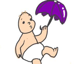 baby brings an umbrella