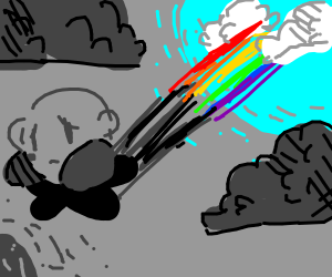 depressed Kirby riding falling rainbow star