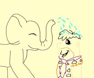 elephant giving Fred Flintstone a shower