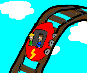 Two men on a rollercoaster