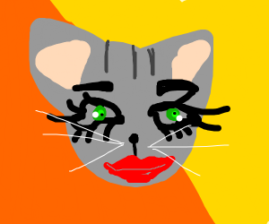 Cat with human eyes and mouth
