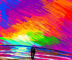 rainbow sunset at beach