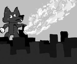 Furry destroys the city