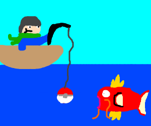 Fishing with a pokeball as bate