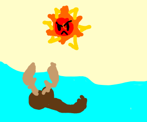 Moose swimming under an angry, hot sun.