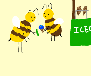 a bee selling ice cream