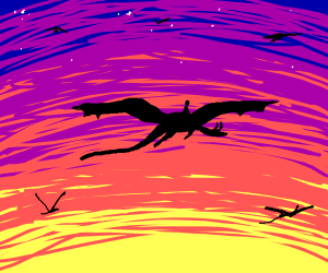 Person riding a dragon into the sunset