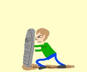 Man pushing a tombstone