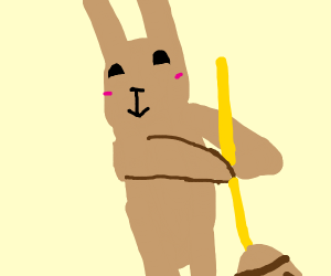 Rabbit with a mop