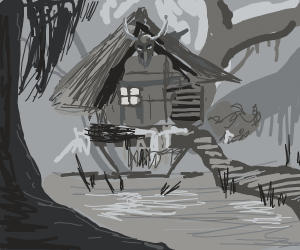 Small house in the middle of the swamp/woods