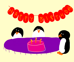 penguins celebrating a birth day