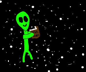 Aliens enjoy reading sci-fi books from Earth