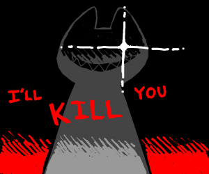 gray cat saying i'll kill you