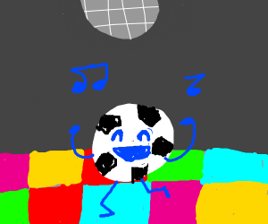 A soccer ball dancing in the disco