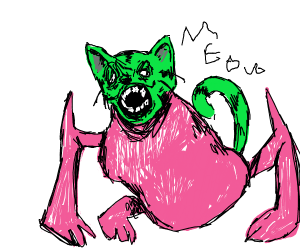 cat with green head/tail and pink body
