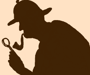 Silhouette of detective with magnifying glass