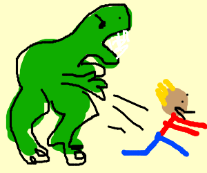 Getting attacked by a dinosaur