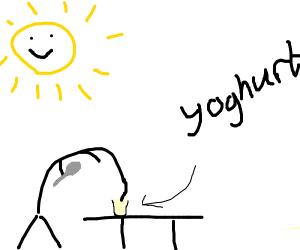 Head in a yogurt pot