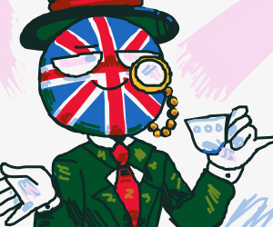 Posh Britain flag drinks tea, has monocle
