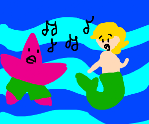 Patrick and mermaid man singing