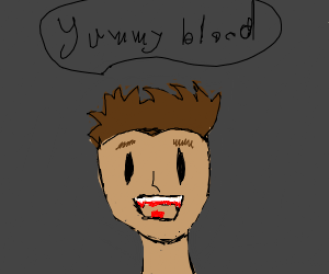 shocked guy with blood on his teeth
