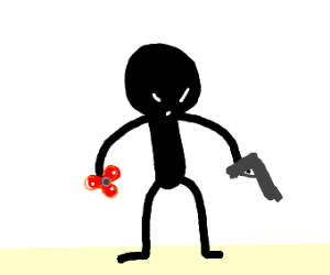 Stick man with his red fidget spinner and gun